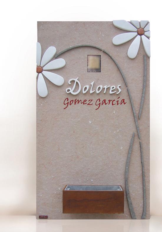 lapida con flores margaritas blancas diseño elegante y diferente
