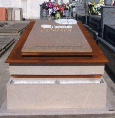 Lapida de suelo panteon familiar,de diseño personalizado, trabajado en distintos materiales y técnicas innovadoras.